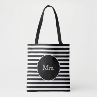 Mrs. with Black & White Stripes Tote Bag