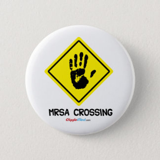 MRSA Crossing Sign 6 Cm Round Badge