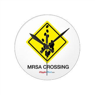 MRSA Crossing Sign Round Clock