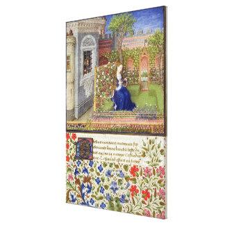 Ms 2617 Emilia in her garden, Plate 22 Canvas Print