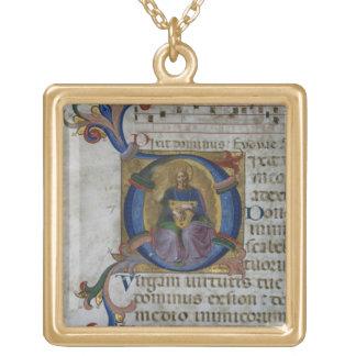 Ms 531 f.169v Historiated initial 'D' depicting Ki Square Pendant Necklace