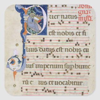Ms 561 Page with historiated initial 'P' depicting Sticker
