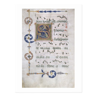 Ms 564 f.13v Page with historiated initial 'S' dep Postcard