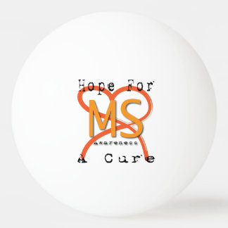 MS Awareness Three Star Ping Pong Ball, White