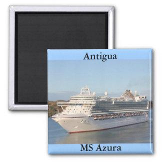 MS Azura Cruise Ship Close-Up on Antigua Square Magnet