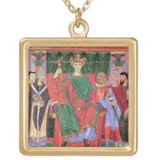 Ms Cim.4453 f.42r Holy Roman Emperor Otto III Enth Square Pendant Necklace
