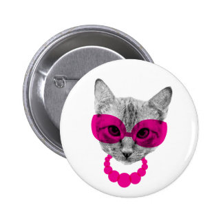 Ms. Fancy Cat 6 Cm Round Badge