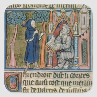 Ms Fr. 95 f.268 Merlin dictates the story to Blais Square Stickers