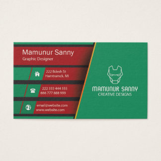 MS Green Red Modern Unique Business Card