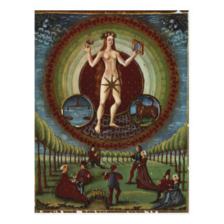 Ms Lat. 209 f.9v Venus, from 'De Sphaera', c.1470 Postcard