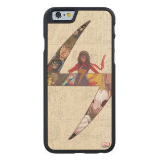 Ms. Marvel Comic Panel Logo Carved Maple iPhone 6 Case