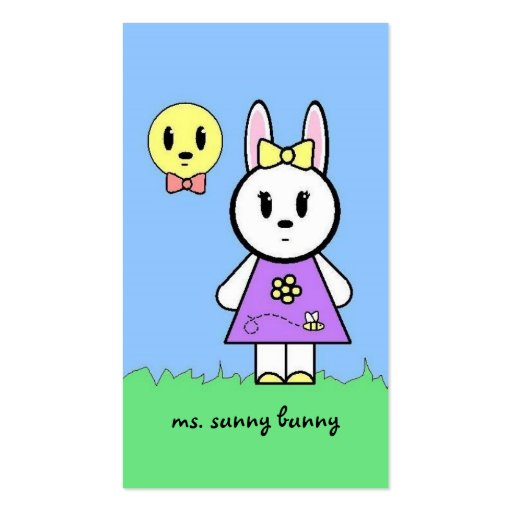 Ms. Sunny Bunny Profile Cards Business Card Template