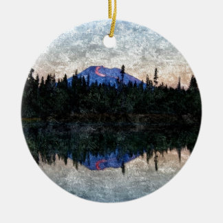 Mt Bachelor, Oregon, at Dawn Ceramic Ornament