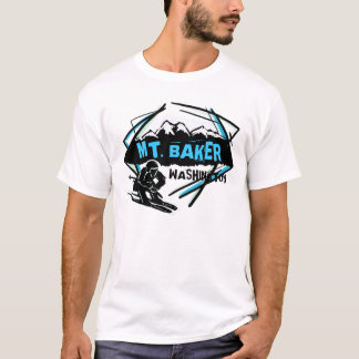 Mt. Baker Washington blue black skier guys tee