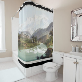 Mt Blanc Mountain Alps Painting Shower Curtain