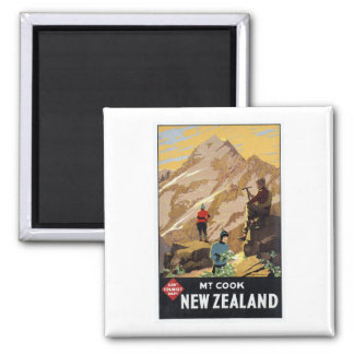 Mt.Cook New Zealand Mountains Vintage Travel Magnet