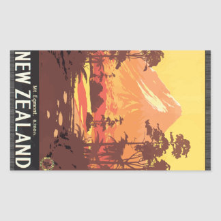 Mt. Egmont. 8,260 Ft. New Zealand, Vintage Rectangular Sticker