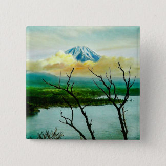 Mt. Fuji 富士山 Through the Pines Vintage Japanese 15 Cm Square Badge