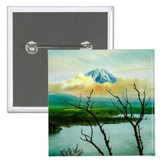 Mt. Fuji 富士山 Through the Pines Vintage Japanese 15 Cm Square Badge