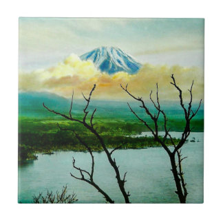 Mt. Fuji 富士山 Through the Pines Vintage Japanese Ceramic Tile