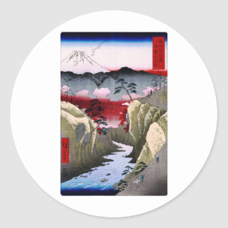 Mt. Fuji and Birds in Japan circa 1800s Classic Round Sticker