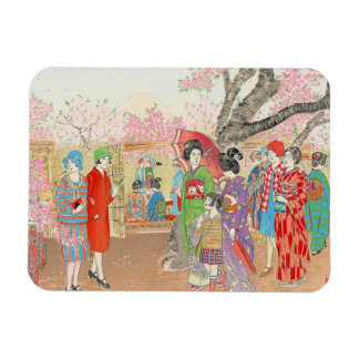 Mt Fuji and the Cherry Blossoms on Asuka Hill art Magnets