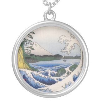 Mt. Fuji and Waves Round Pendant Necklace