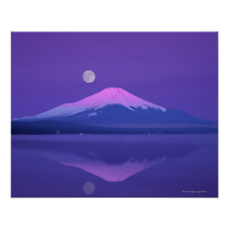 Mt. Fuji Below Moon Poster