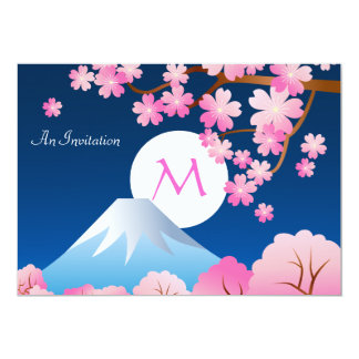Mt Fuji Cherry Blossoms Spring Japan Night Sakura Card
