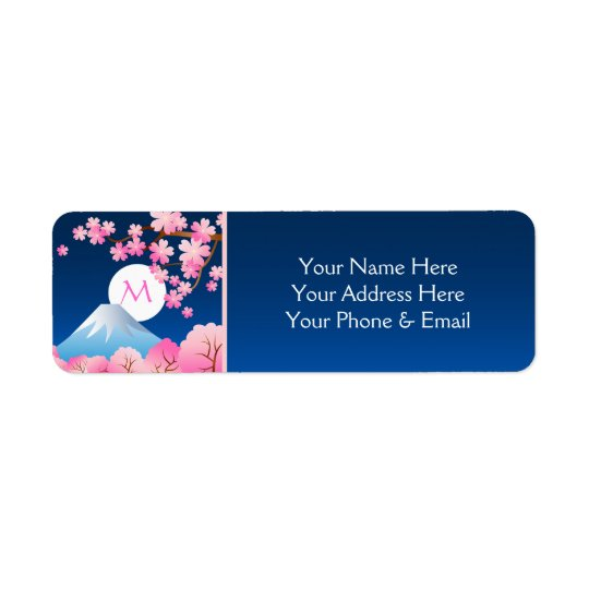 Mt Fuji Cherry Blossoms Spring Japan Night Sakura Return Address Label