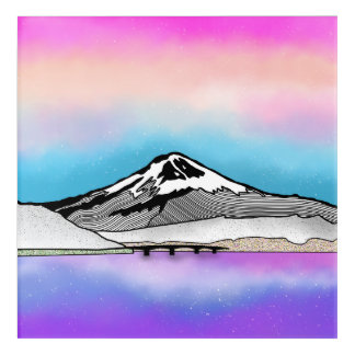 Mt Fuji Japan Landscape illustration Acrylic Wall Art