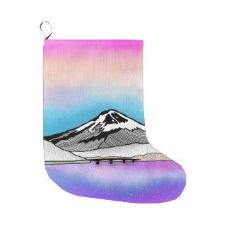 Mt Fuji Japan Landscape illustration Large Christmas Stocking