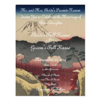 Mt. Fuji Japanese Vintage Art Wedding Invitation Postcard