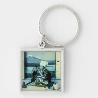 Mt. Fuji on a Silk Screen Behind Spinning Geisha Silver-Colored Square Key Ring