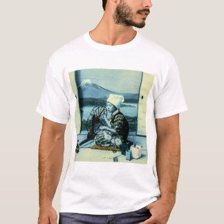 Mt. Fuji on a Silk Screen Behind Spinning Geisha T-Shirt
