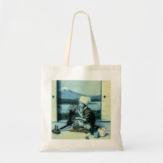 Mt. Fuji on a Silk Screen Behind Spinning Geisha Tote Bag