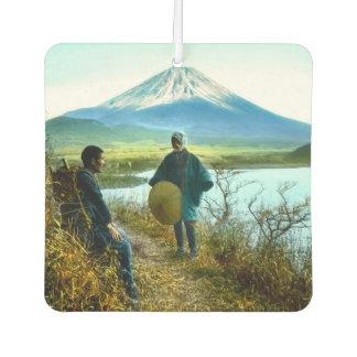 Mt. Fuji Pilgrims Resting by Roadside Vintage