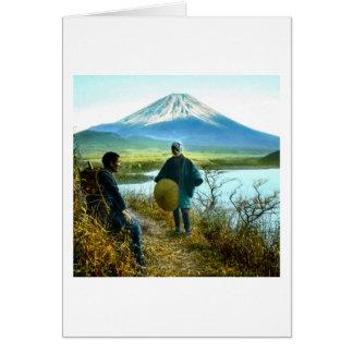 Mt. Fuji Pilgrims Resting by Roadside Vintage Card