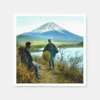 Mt. Fuji Pilgrims Resting by Roadside Vintage Disposable Serviettes