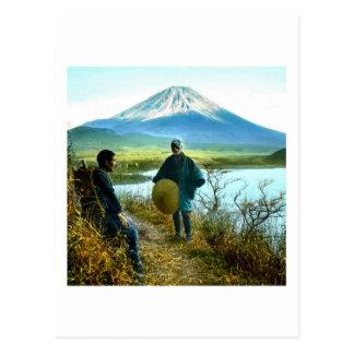 Mt. Fuji Pilgrims Resting by Roadside Vintage Postcard
