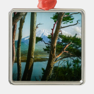 Mt. Fuji Through the Morning Woods Vintage Japan Silver-Colored Square Decoration