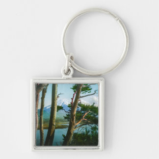 Mt. Fuji Through the Morning Woods Vintage Japan Silver-Colored Square Key Ring