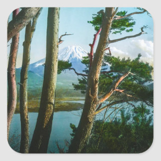 Mt. Fuji Through the Morning Woods Vintage Japan Square Sticker
