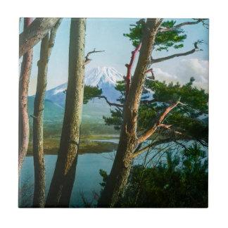 Mt. Fuji Through the Morning Woods Vintage Japan Tile