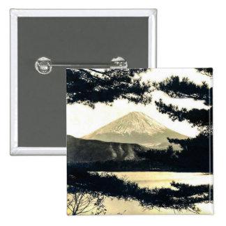 Mt. Fuji Through the Pines Vintage 富士山  Japanese 15 Cm Square Badge