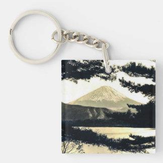 Mt. Fuji Through the Pines Vintage 富士山  Japanese Key Ring