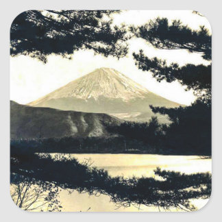 Mt. Fuji Through the Pines Vintage 富士山  Japanese Square Sticker