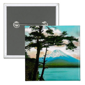 Mt. Fuji Through the Pines Vintage Japanese  富士山 15 Cm Square Badge