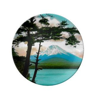 Mt. Fuji Through the Pines Vintage Japanese  富士山 Plate