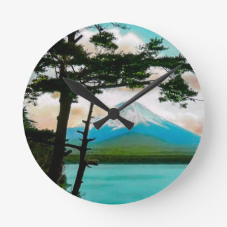 Mt. Fuji Through the Pines Vintage Japanese  富士山 Round Clock